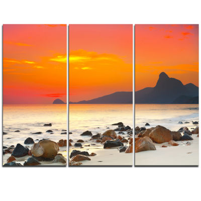 Designart Rocky Seashore Under Colorful Sky ExtraLarge Seascape Art Triptych Canvas
