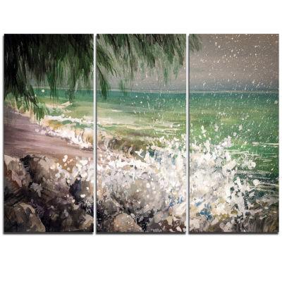 Designart Rocky Seashore With White Waves Large Seashore Triptych Canvas Print