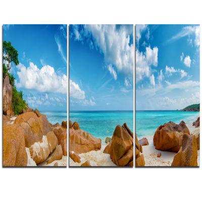 Design Art Rocky Seychelles Island Panorama Oversized Beach Triptych Canvas Artwork