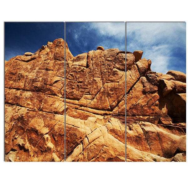 Design Art Rocky Terrain Under Blue Sky African Landscape Canvas Art Print - 3 Panels