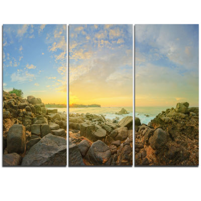Designart Rocky Untouched Romantic Seashore LargeSeashore Triptych Canvas Print
