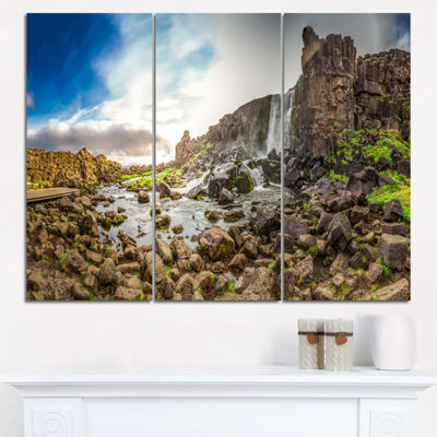 Designart Rocky Waterfall In Mountains Iceland Landscape Print Wall Artwork