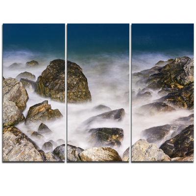 Designart Rocky Waves At Haeundae Coast Busan Seashore Triptych Canvas Art Print