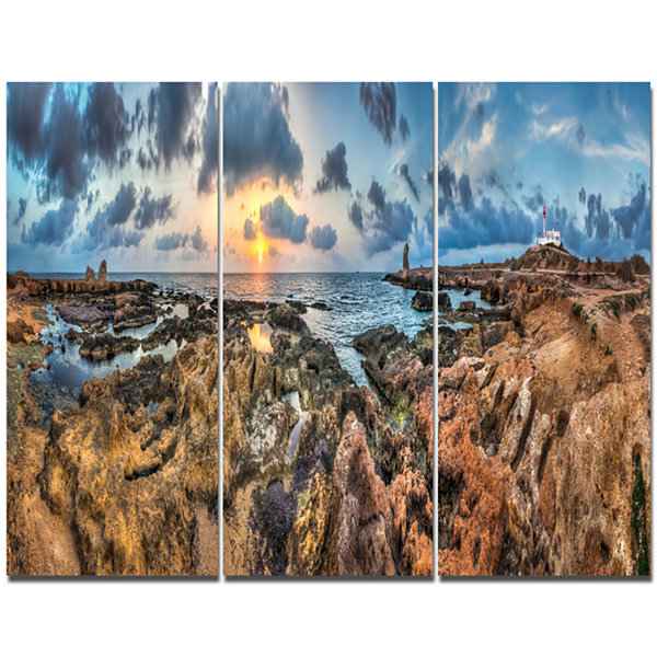 Design Art Rocky With Historic Ruins Evening Landscape Triptych Canvas Art Print