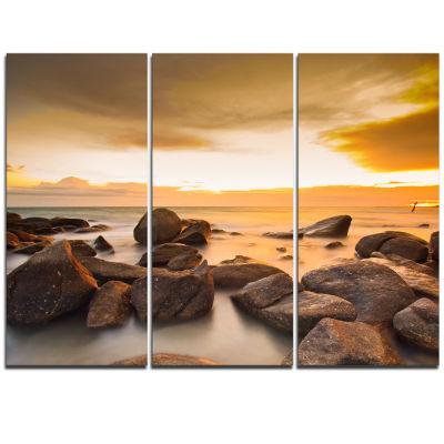 Designart Rocky Yellow Tropical Beach Large Seashore Triptych Canvas Print