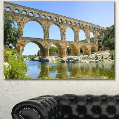 Designart Roman Aqueduct Bridge In France BridgeCanvas Wall Art - 3 Panels