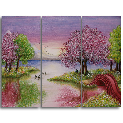 Designart Romantic Lake In Pink And Green Extra Large Wall Art Landscape