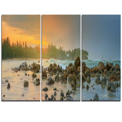 Designart Romantic Untouched Beach Sunset Landscape Triptych Canvas Art Print