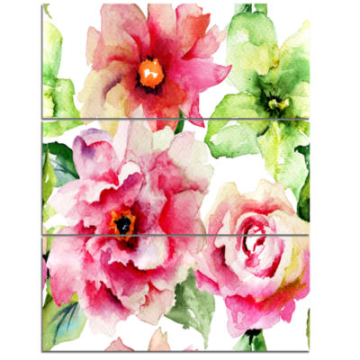 Designart Roses And Gerber Flowers Watercolor Floral Triptych Canvas Art Print