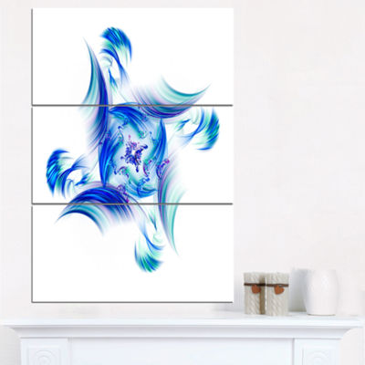 Designart Rotation Of Small Universe Blue FlowerFloral Triptych Canvas Art Print