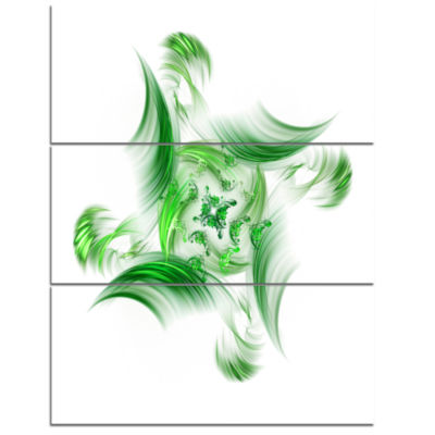 Designart Rotation Of Small Universe Green FlowerFloral Triptych Canvas Art Print
