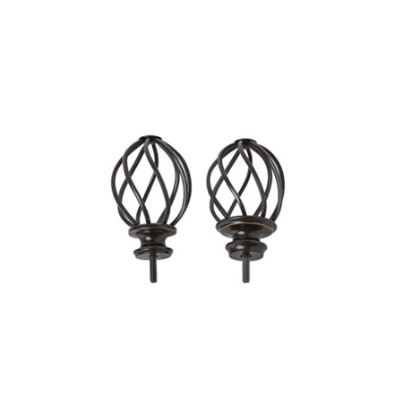 JCPenney Home Mix & Match Swirled Cage 2-pc. Finials, One Size , Brown