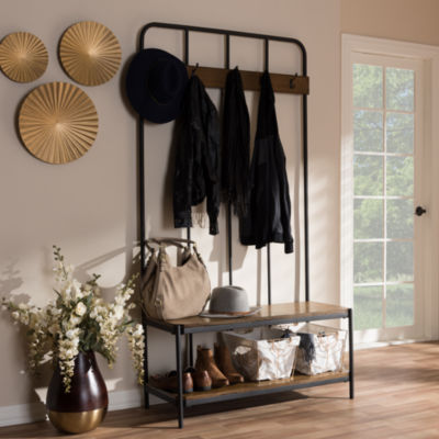 Baxton Studio Hull Rustic Industrial Style Antique Black Metal and Wood Entryway Hall Tree