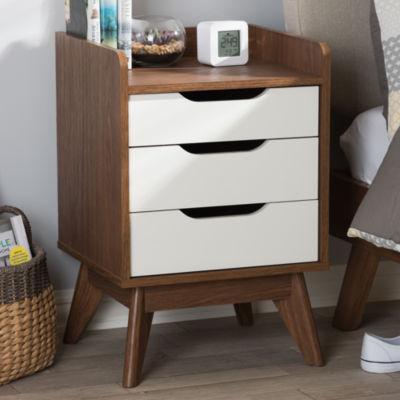 Baxton Studio Brighton Mid-Century Modern White and Walnut Wood 3-Drawer Storage Nightstand