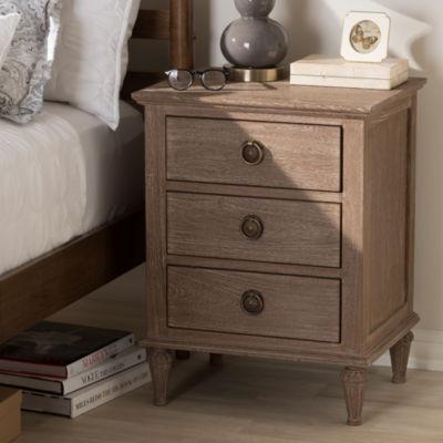 Baxton Studio Venezia French-Inspired Rustic Grey Wash Finish Wood 3-Drawer Nightstand