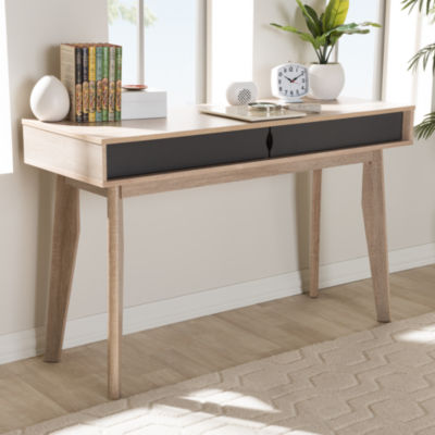 Baxton Studio Fella Mid-Century Modern 2-Drawer Oak and Grey Wood Study Desk