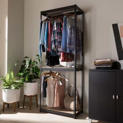 Baxton Studio Gavin Metal 3-Shelf Closet Storage Shelving Unit