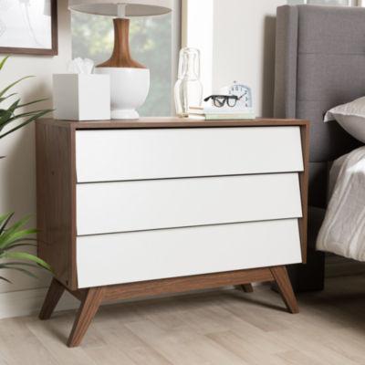 Baxton Studio Hildon Mid-Century Modern White and Walnut Wood 3-Drawer Storage Chest