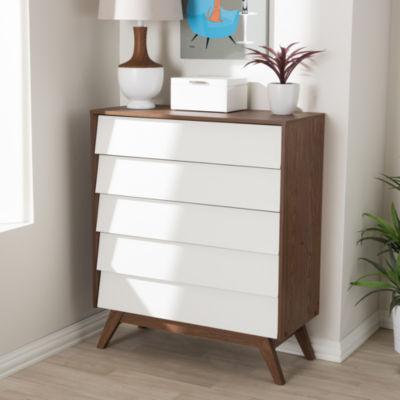 Baxton Studio Hildon Mid-Century Modern White and Walnut Wood 5-Drawer Storage Chest