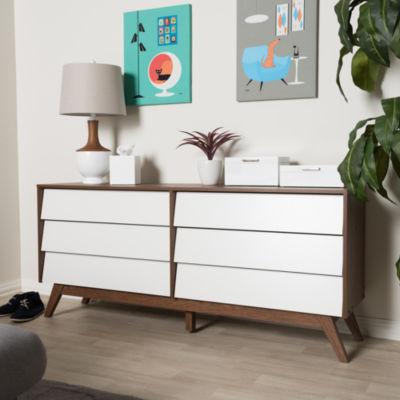 Baxton Studio Hildon Mid-Century Modern White and Walnut Wood 6-Drawer Storage Dresser