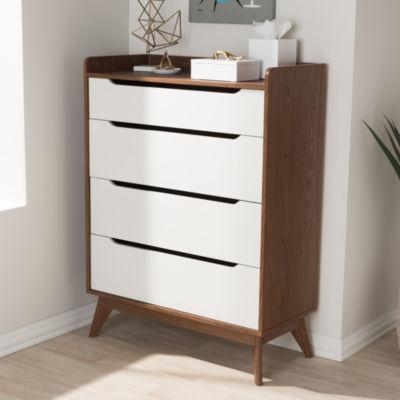 Baxton Studio Brighton Mid-Century Modern White and Walnut Wood 4-Drawer Storage Chest