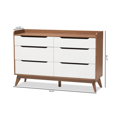 Baxton Studio Brighton Mid-Century Modern White and Walnut Wood 6-Drawer Storage Dresser