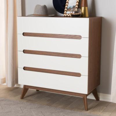 Baxton Studio Calypso Mid-Century Modern White and Walnut Wood 4-Drawer Storage Chest