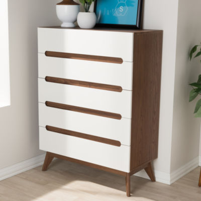 Baxton Studio Calypso Mid-Century Modern White and Walnut Wood 5-Drawer Storage Chest