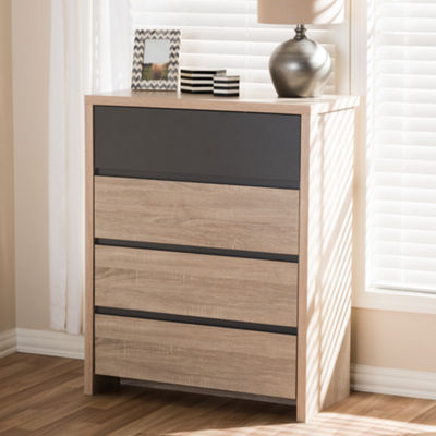 Baxton Studio Jamie Modern and Contemporary Two-Tone Oak and Grey Wood 4-Drawer Chest