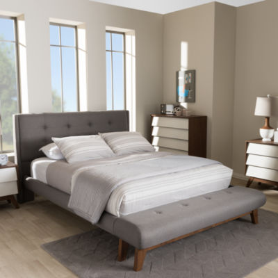 Baxton Studio Reena Modern and Contemporary Platform Bed with Built-in Bench