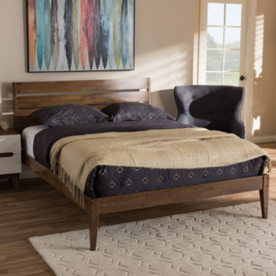Baxton Studio Elmdon Mid-Century Modern Wood Slatted Headboard Style Platform Bed