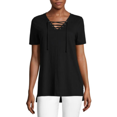 a.n.a. Short Sleeve Lace Up Tee