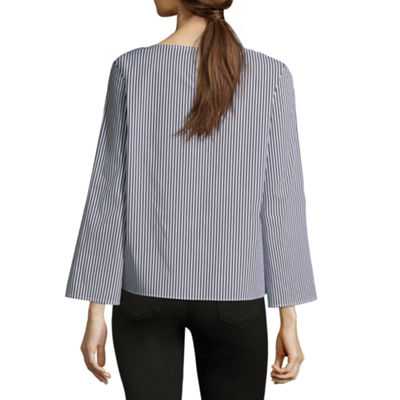 Liz Claiborne Long Sleeve Boatneck Tie Front Stripe Blouse