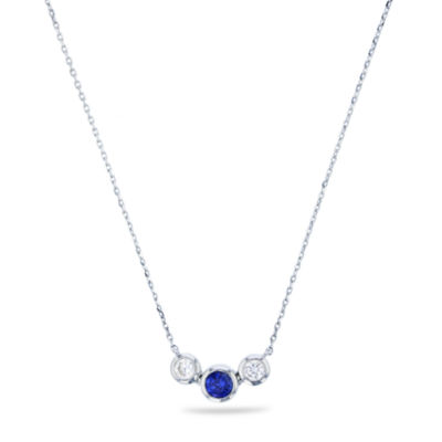 Womens Lab Created Blue Sapphire Sterling Silver Pendant Necklace
