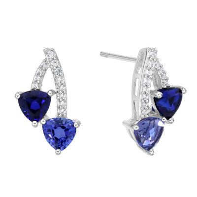 Lab Created Blue Sapphire Sterling Silver 16.3mm Stud Earrings