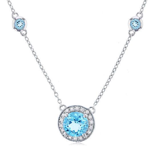 Womens Genuine Blue Topaz Sterling Silver Round Pendant Necklace