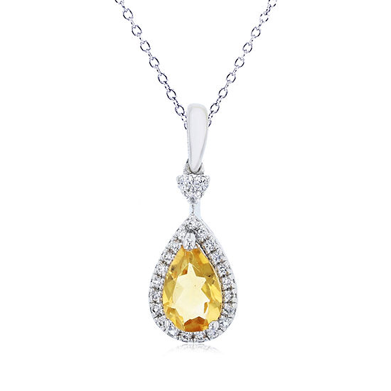 Womens Genuine Orange Citrine Sterling Silver Pear Pendant Necklace