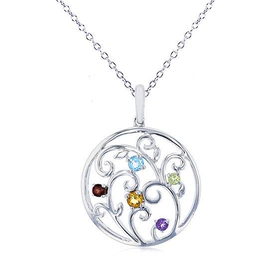Womens Genuine Multi Color Stone Sterling Silver Pendant Necklace