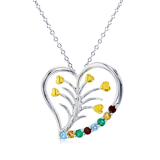 Womens Genuine Multi Color Stone Sterling Silver Heart Pendant Necklace