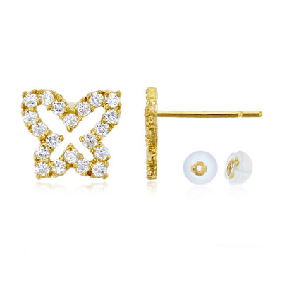 3/8 CT. T.W. Simulated White Cubic Zirconia 14K Gold 8mm Butterfly Stud Earrings