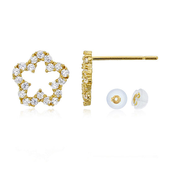 3/8 CT. T.W. Simulated White Cubic Zirconia 14K Gold 8mm Flower Stud Earrings