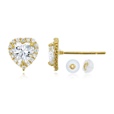 1 3/4 CT. T.W. Simulated White Cubic Zirconia 14K Gold 7mm Heart Stud Earrings