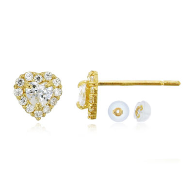 3/4 CT. T.W. Simulated White Cubic Zirconia 14K Gold 5mm Heart Stud Earrings