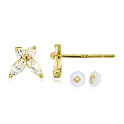 3/4 CT. T.W. Simulated White Cubic Zirconia 14K Gold 6mm Butterfly Stud Earrings
