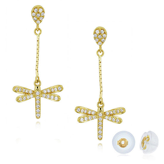 1/2 CT. T.W. Simulated White Cubic Zirconia 14K Gold Drop Earrings