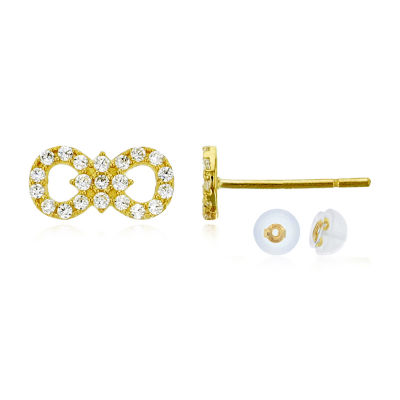 3/8 CT. T.W. Simulated White Cubic Zirconia 14K Gold 5mm Infinity Stud Earrings
