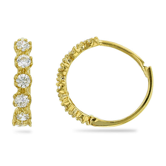 3/4 CT. T.W. Simulated White Cubic Zirconia 14K Gold 12mm Hoop Earrings