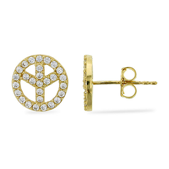 1/2 CT. T.W. Simulated White Cubic Zirconia 14K Gold 8.9mm Peace Sign Stud Earrings