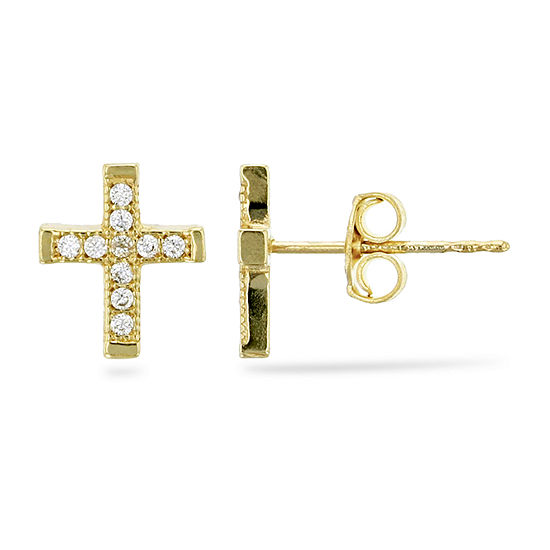 1/5 CT. T.W. Simulated White Cubic Zirconia 14K Gold 8.5mm Cross Stud Earrings