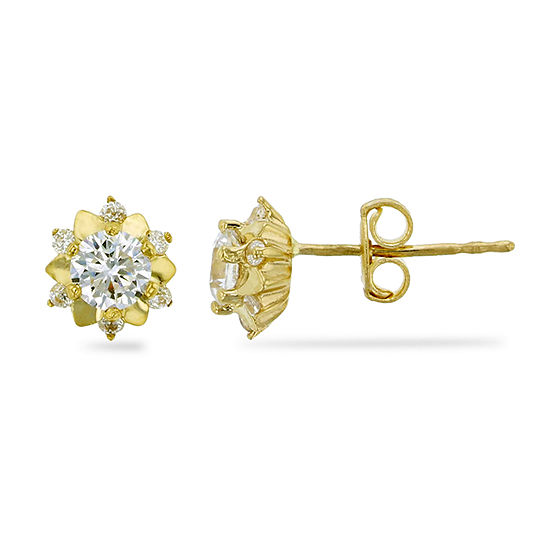 1 CT. T.W. Simulated White Cubic Zirconia 14K Gold 7mm Flower Stud Earrings